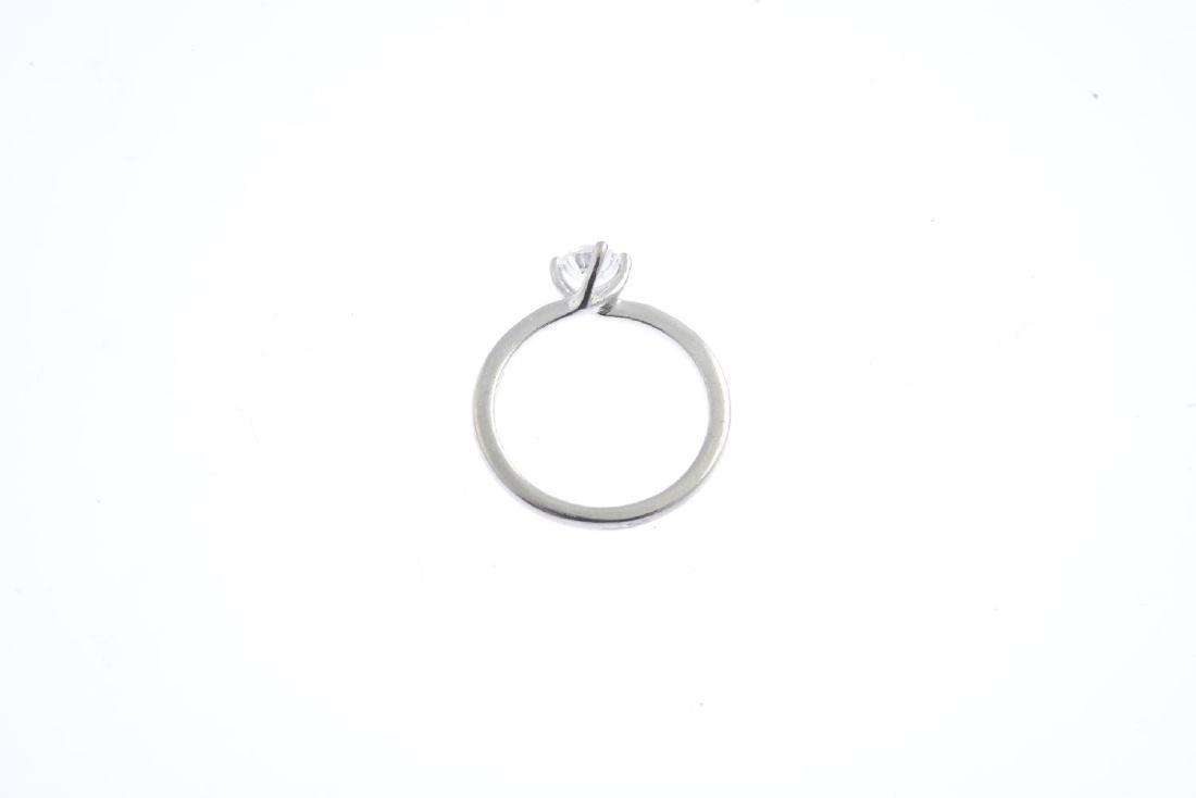 A platinum diamond single-stone ring. The brilliant-cut - 2