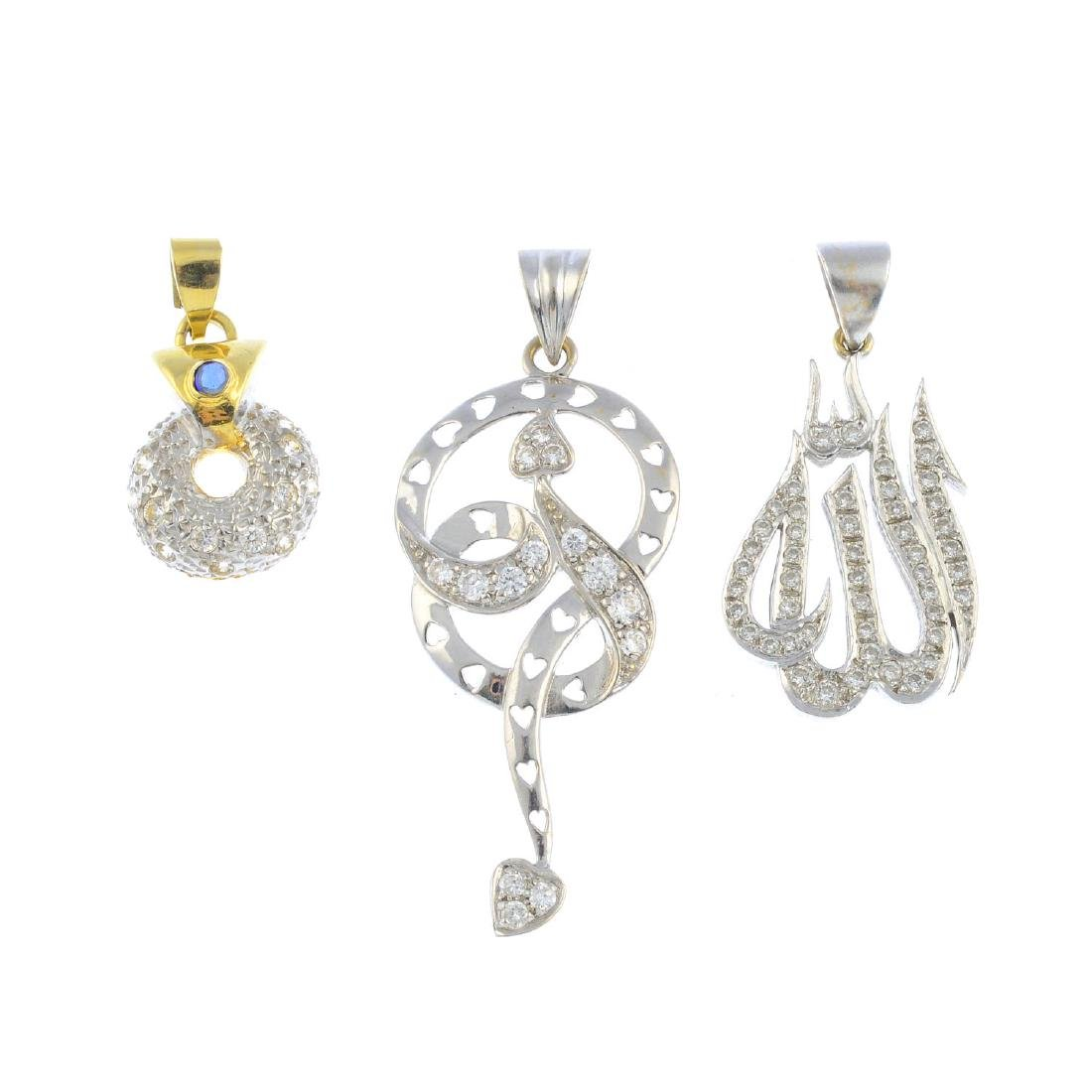 Three diamond and gem-set pendants. To include a
