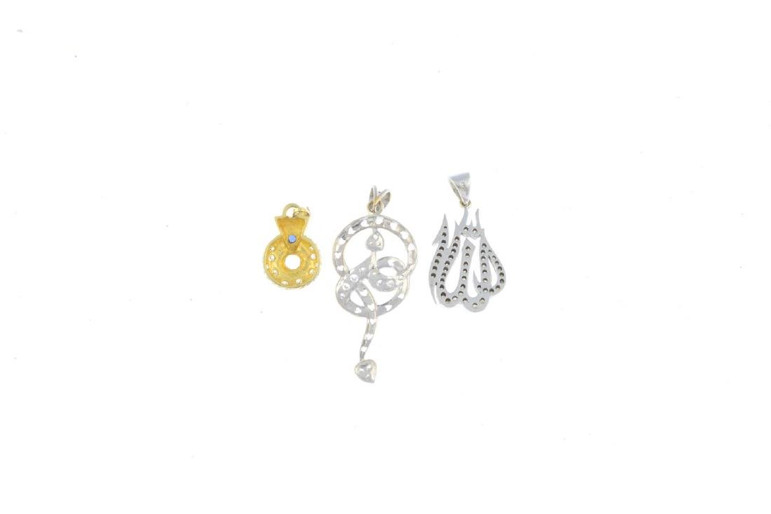 Three diamond and gem-set pendants. To include a - 2