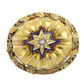 A late Victorian gold split pearl and enamel memorial