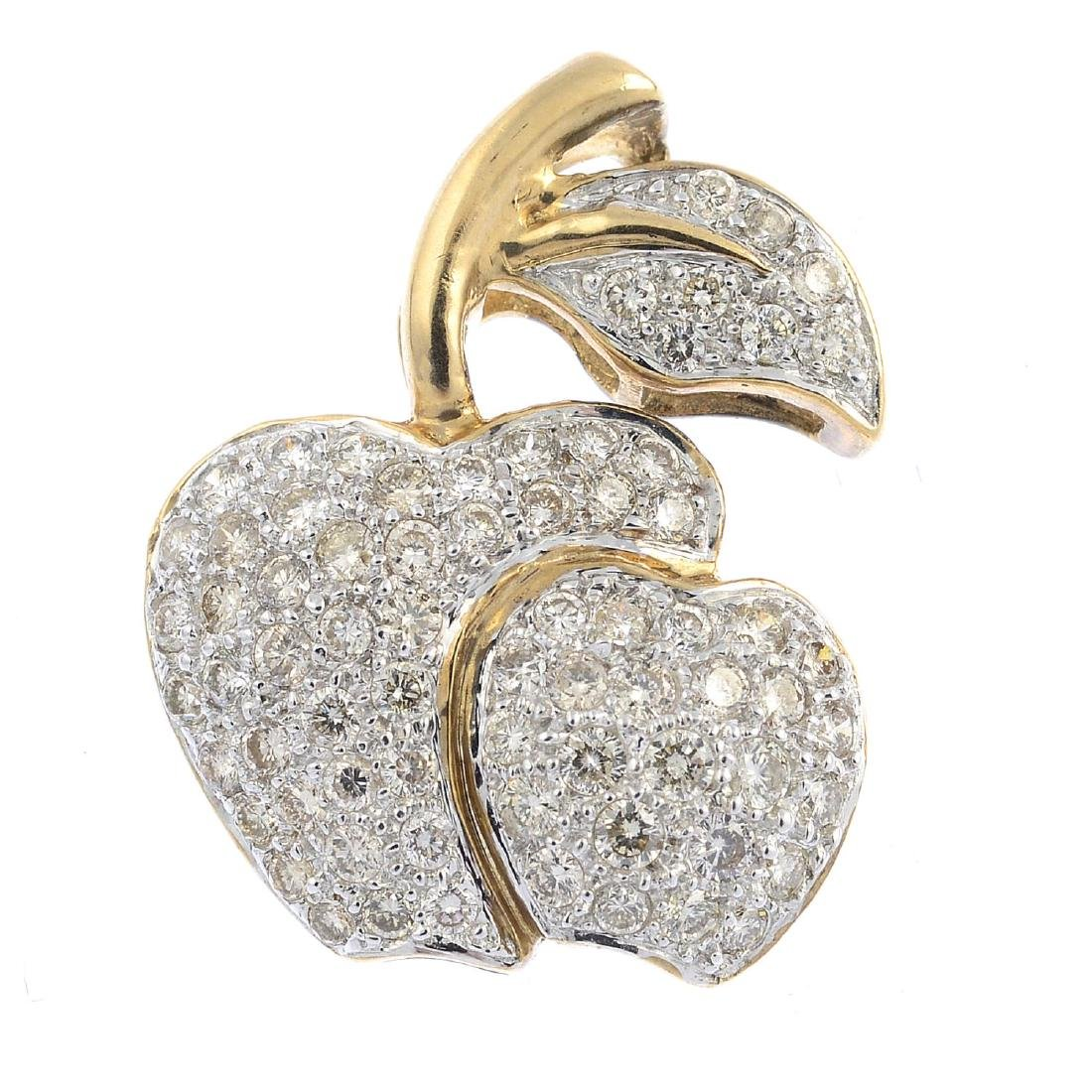 A diamond pendant. Designed as two pave-set diamond