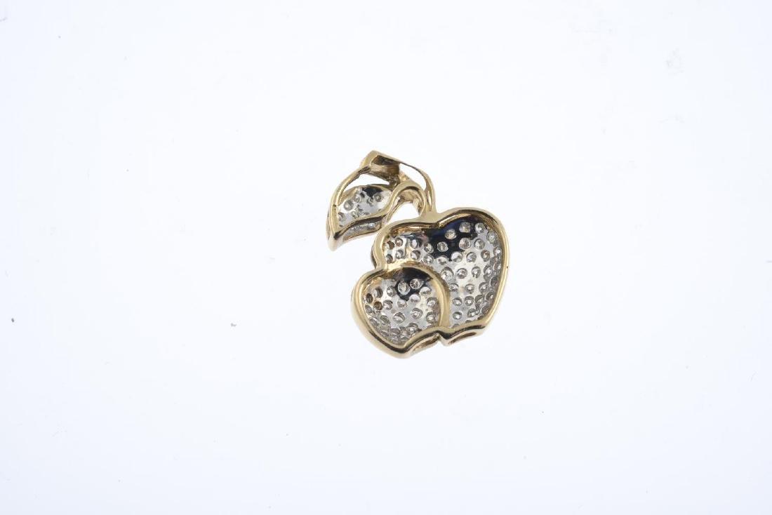 A diamond pendant. Designed as two pave-set diamond - 2