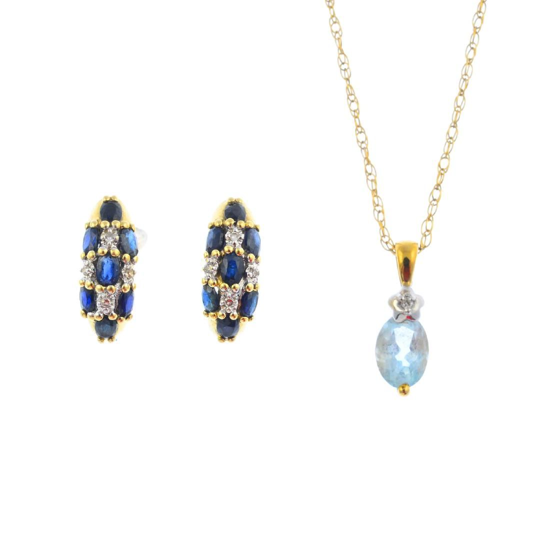 A gem-set pendant and pair of earrings. To include an