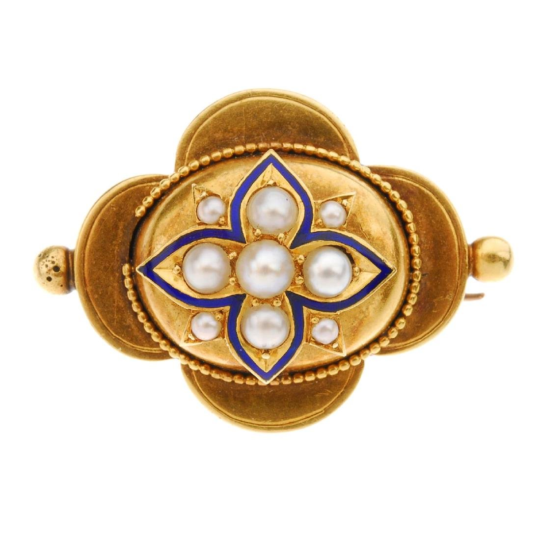 A late Victorian gold split pearl and enamel brooch.