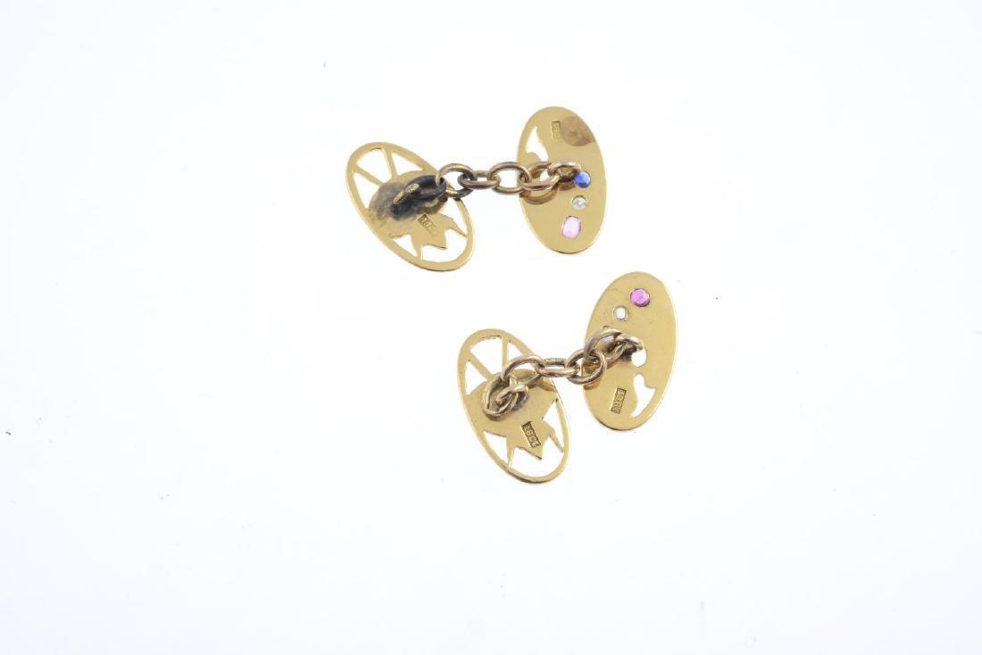A pair of mid 20th century gem-set cufflinks. Each - 2