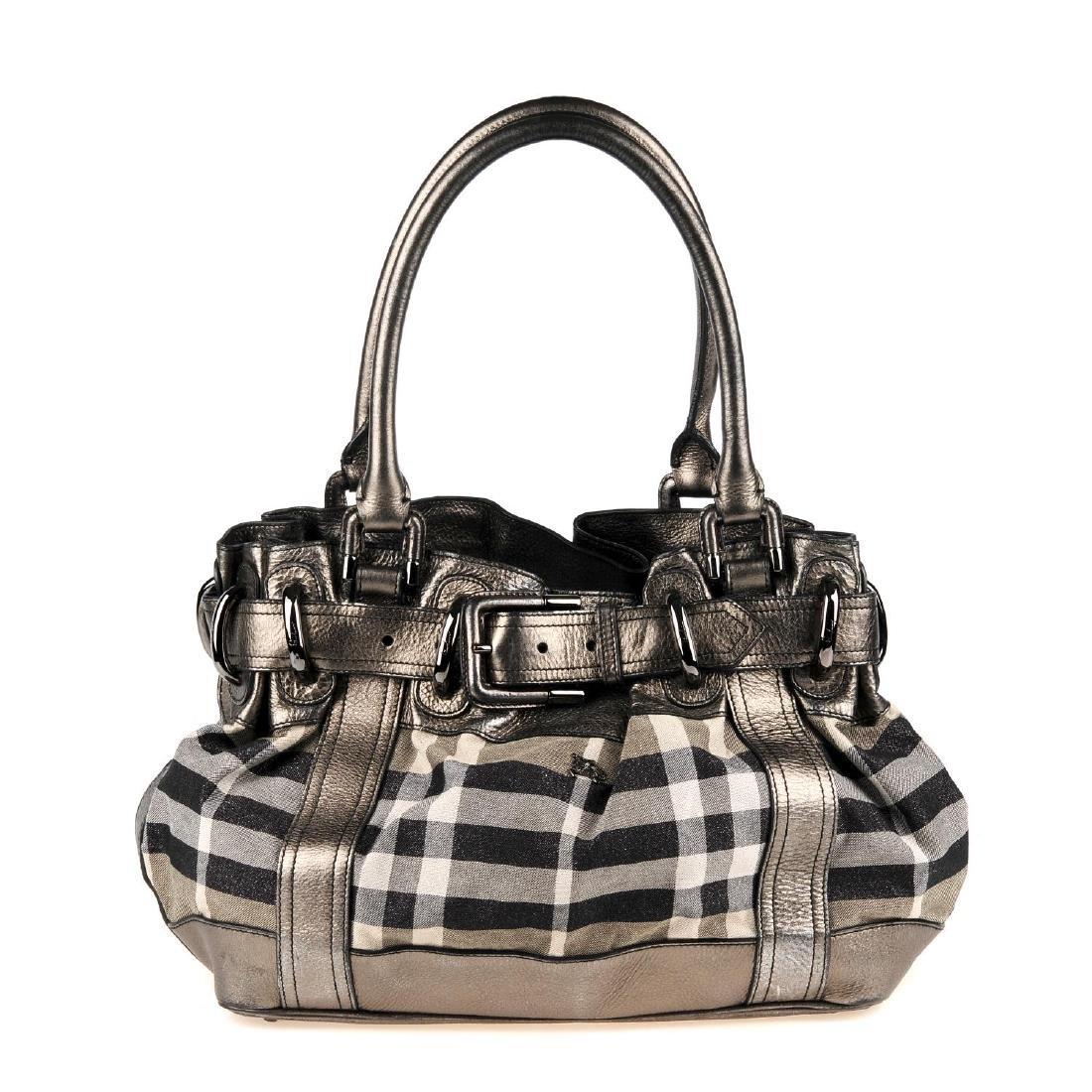 BURBERRY - a grey Shimmer Check Beaton handbag.