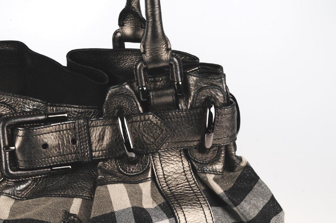 BURBERRY - a grey Shimmer Check Beaton handbag. - 2