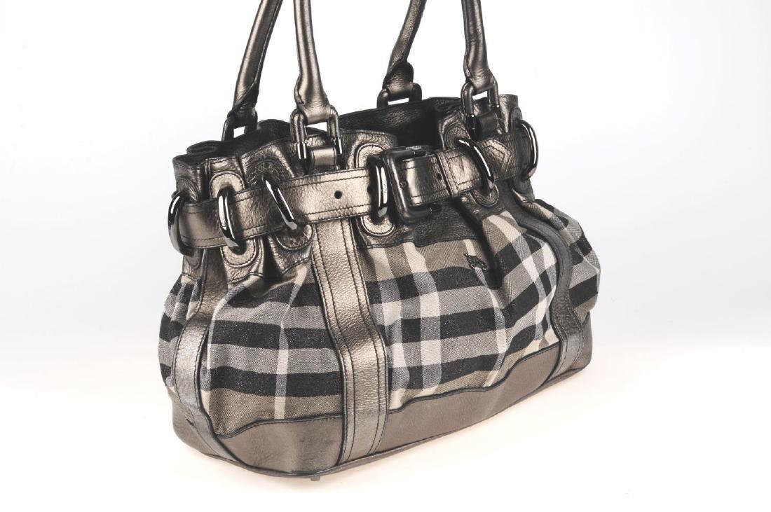 BURBERRY - a grey Shimmer Check Beaton handbag. - 4