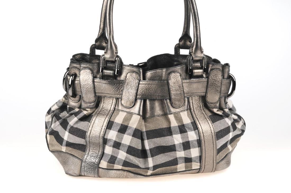 BURBERRY - a grey Shimmer Check Beaton handbag. - 5