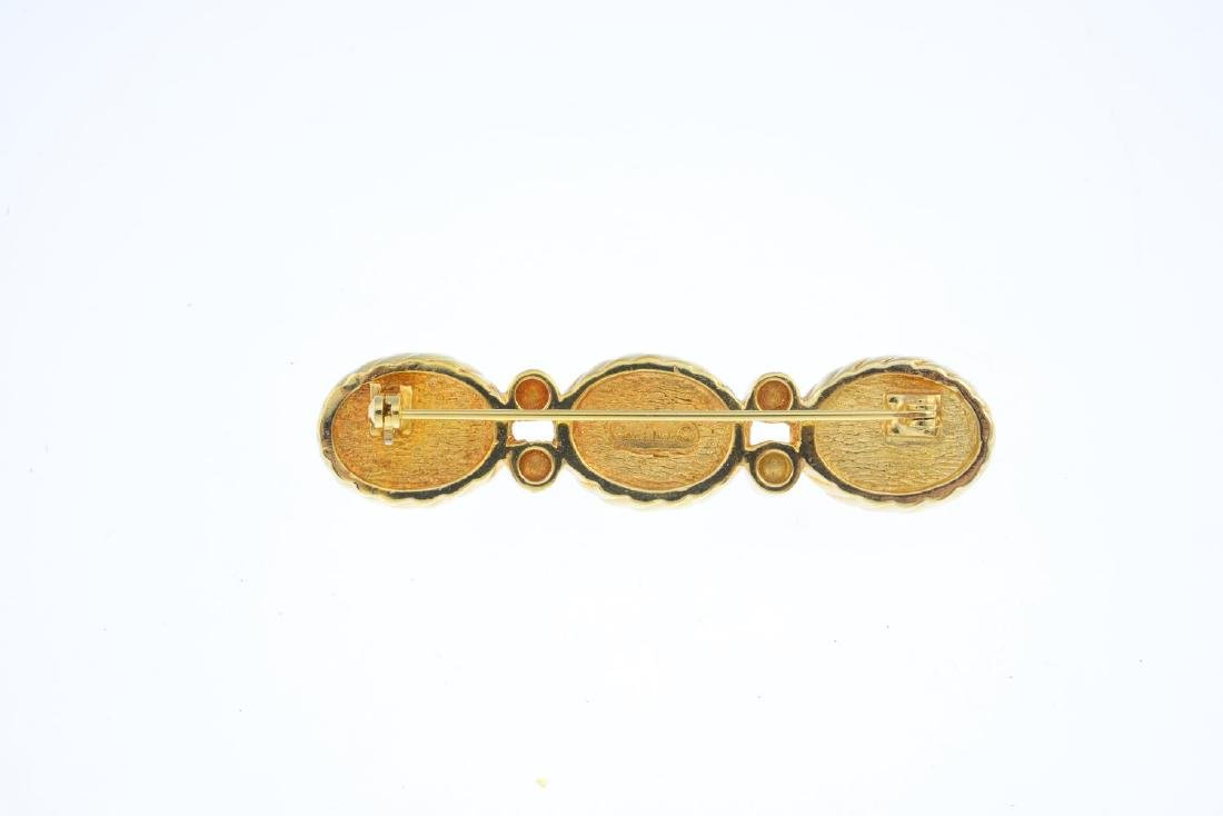 CHRISTIAN DIOR - three pairs of earrings and a brooch. - 2