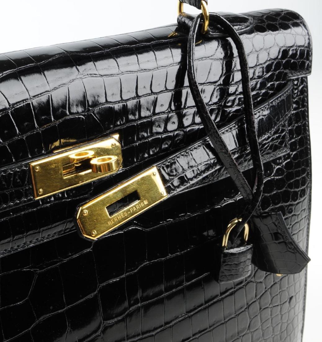HERMÈS - a black Porosus Crocodile Kelly 35 handbag. - 8