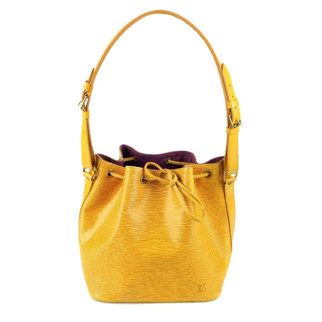 LOUIS VUITTON - a yellow Epi Petite Noe bucket handbag.