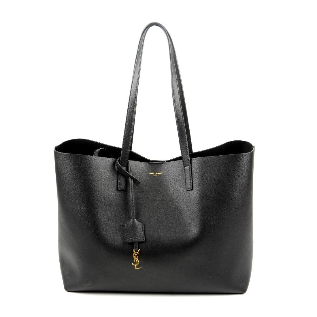 SAINT LAURENT - a leather Shopper handbag. Designed