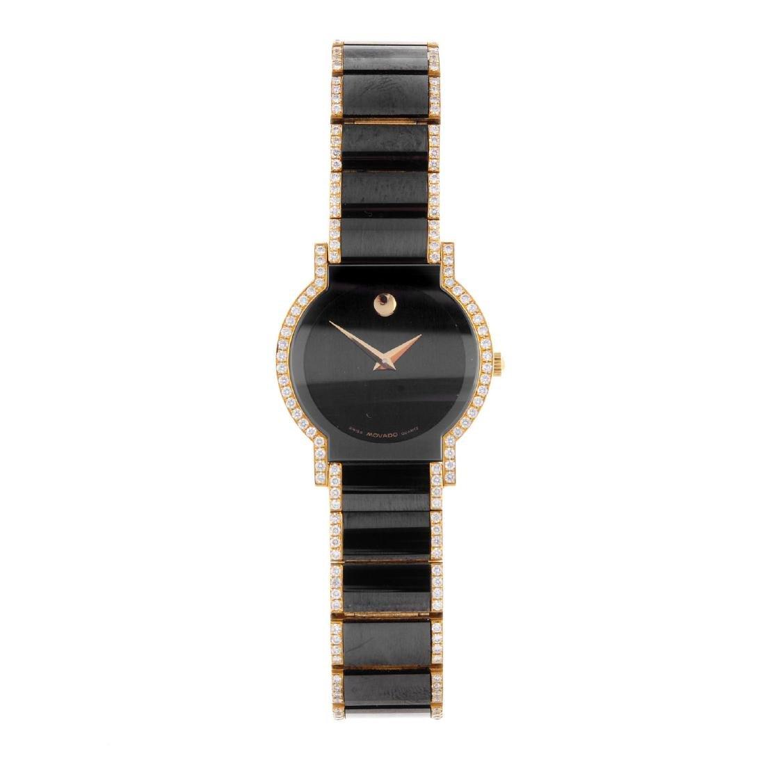 MOVADO - a lady's Museum bracelet watch. 18ct yellow