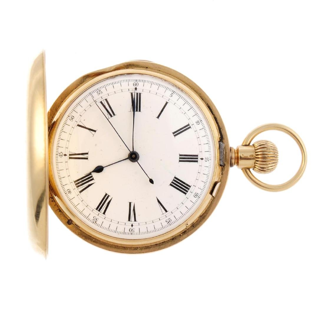 A full hunter repeater pocket watch. Yellow metal