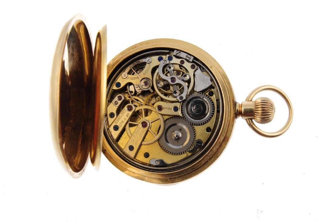 A full hunter repeater pocket watch. Yellow metal - 3