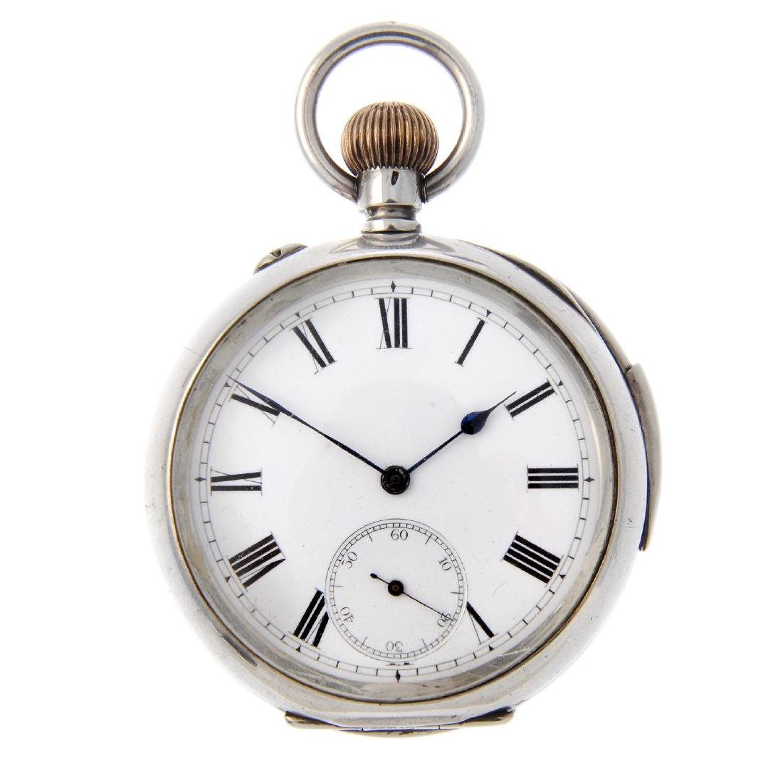An open face repeater pocket watch. White metal case,
