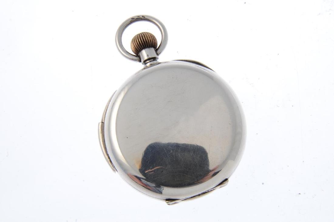 An open face repeater pocket watch. White metal case, - 2
