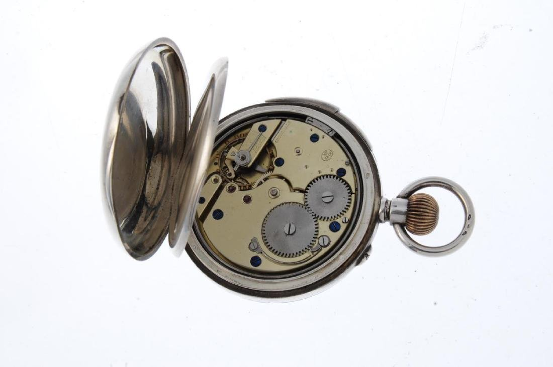 An open face repeater pocket watch. White metal case, - 3