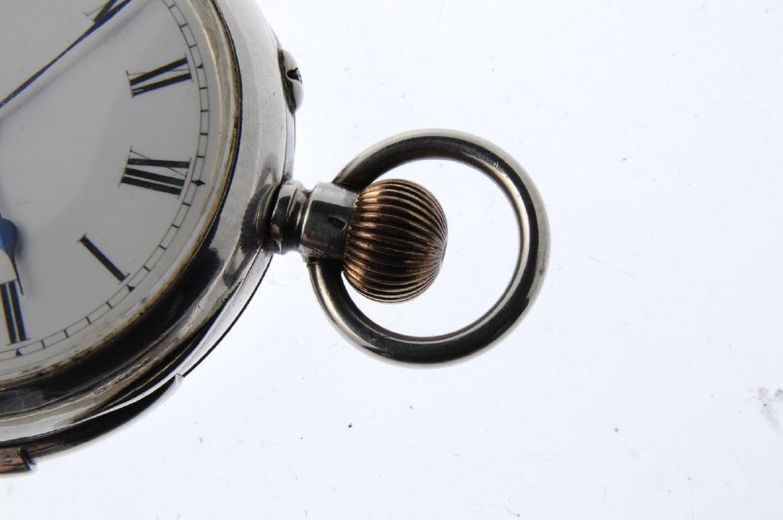 An open face repeater pocket watch. White metal case, - 4