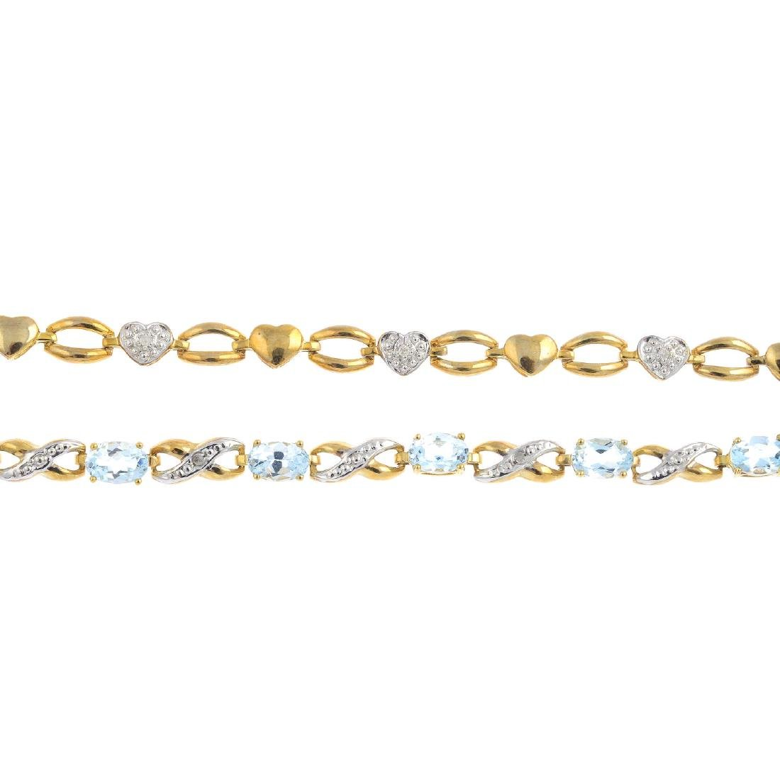 Two 9ct gold diamond and gem-set bracelets. The first