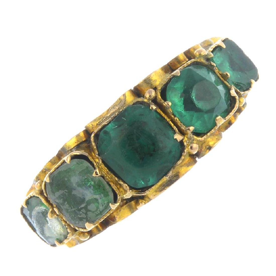 A mid Victorian 15ct gold soude emerald and paste