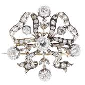 A late Victorian silver and gold diamond brooch