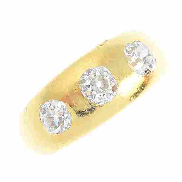 A late Victorian 18ct gold diamond three-stone ring.