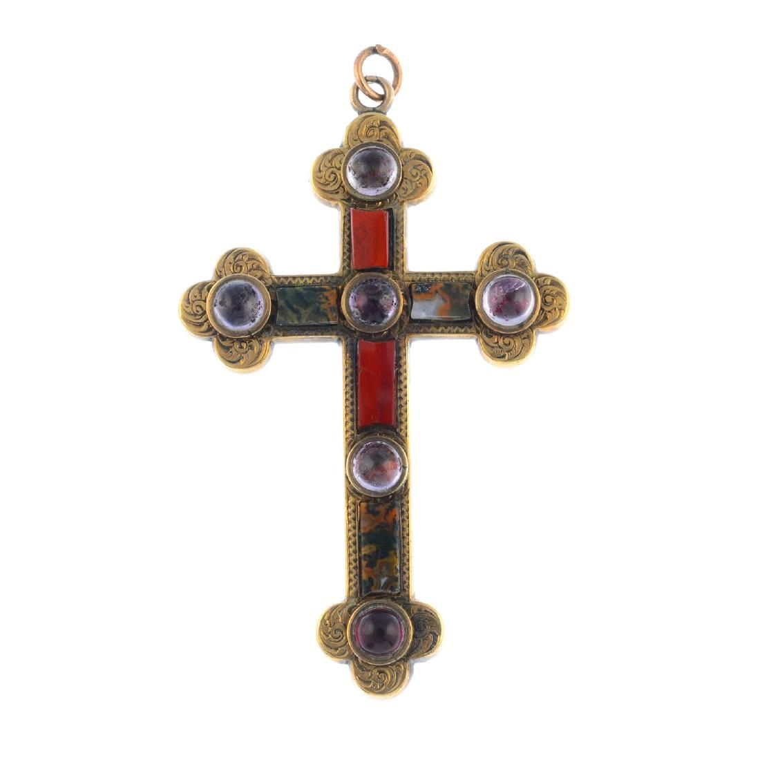 A late Victorian gold Scottish gem-set pendant.