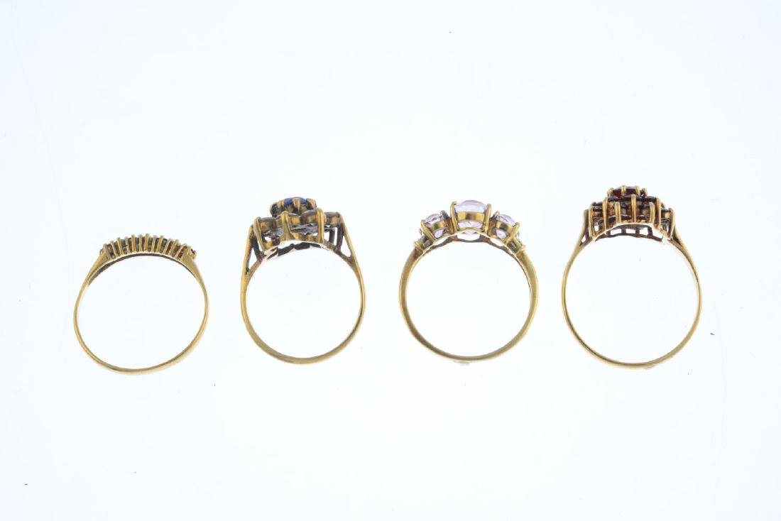 Four 9ct gold gem-set rings. To include a pink coated - 2