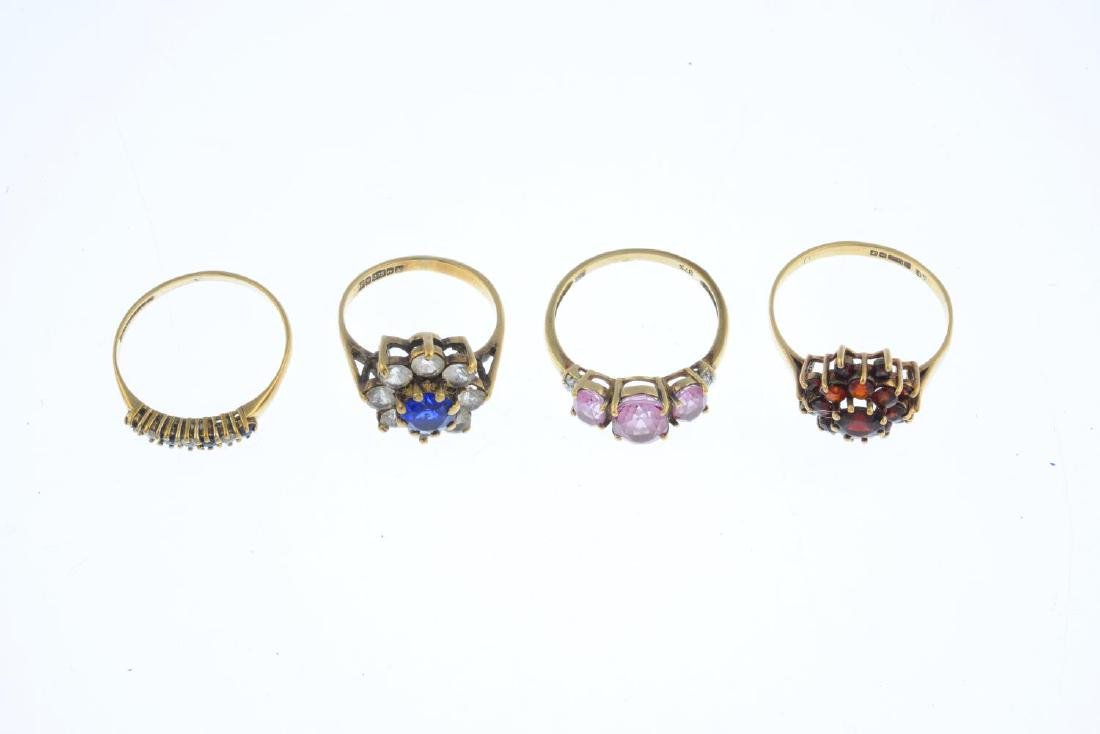 Four 9ct gold gem-set rings. To include a pink coated - 3