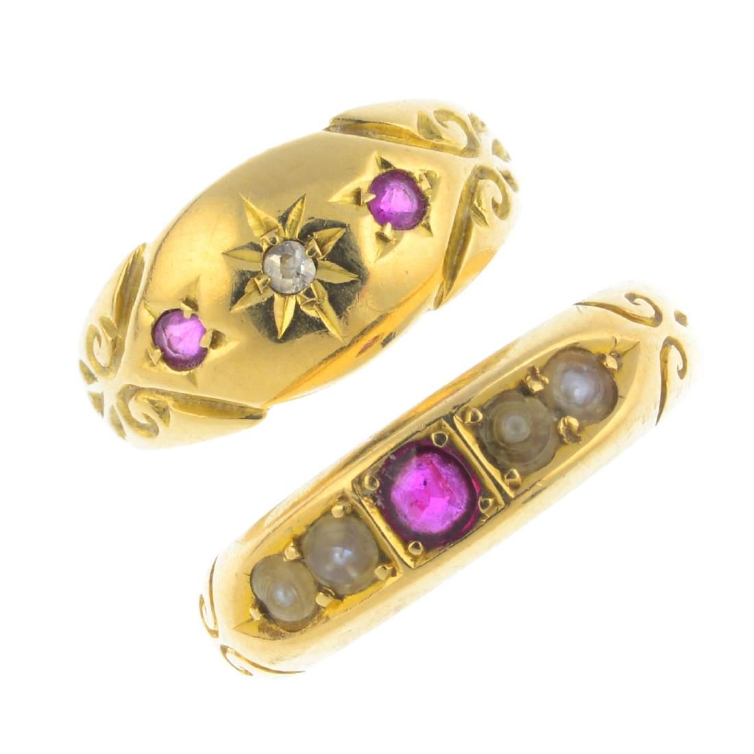 Two 18ct gold diamond and gem-set rings. To include an