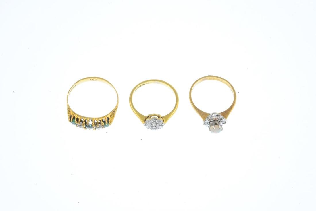Three diamond, opal and gem-set rings. To include an - 3