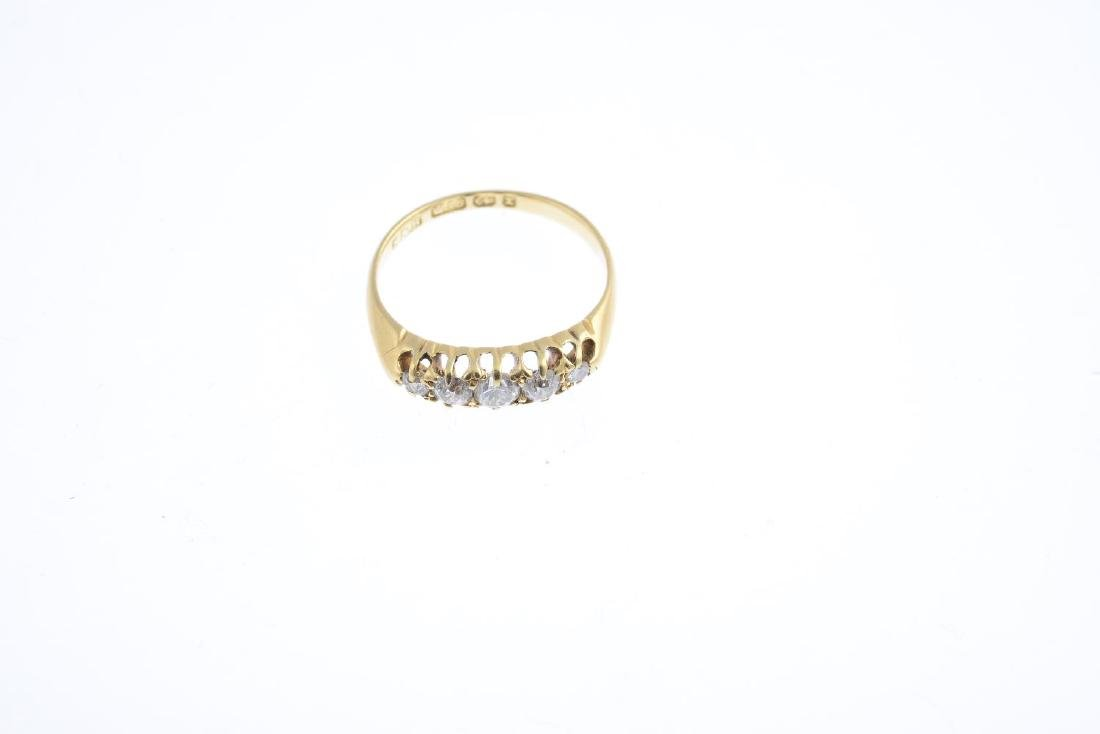 A late Victorian 18ct gold diamond five-stone ring. The - 3