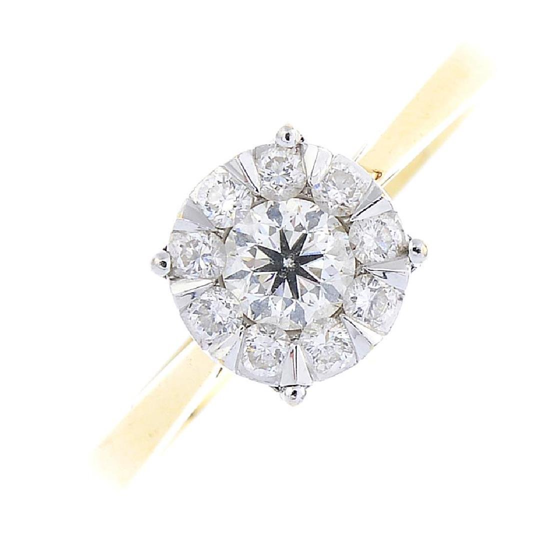 A diamond cluster ring. The brilliant-cut diamond, with