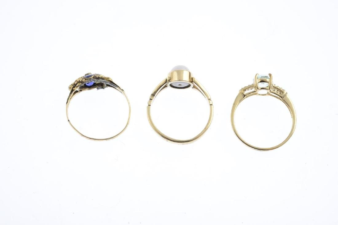 Three 9ct gold gem-set rings. To include a prasiolite - 2