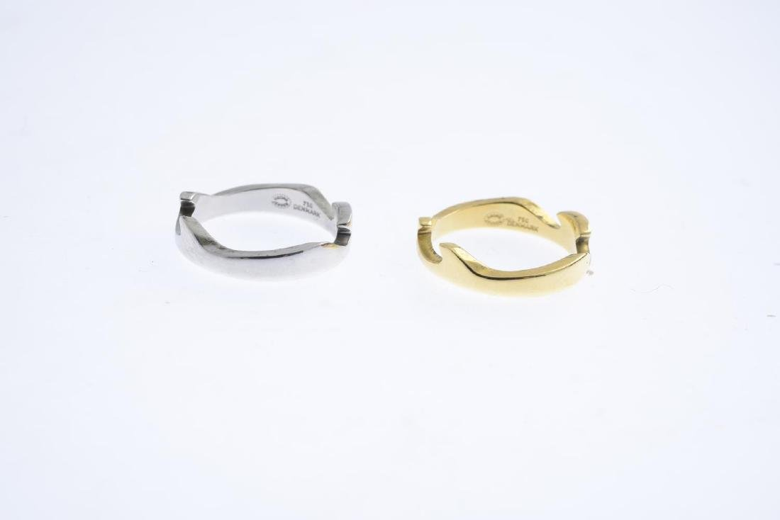 GEORG JENSEN - an 18ct gold 'Fusion' ring. Comprising - 3