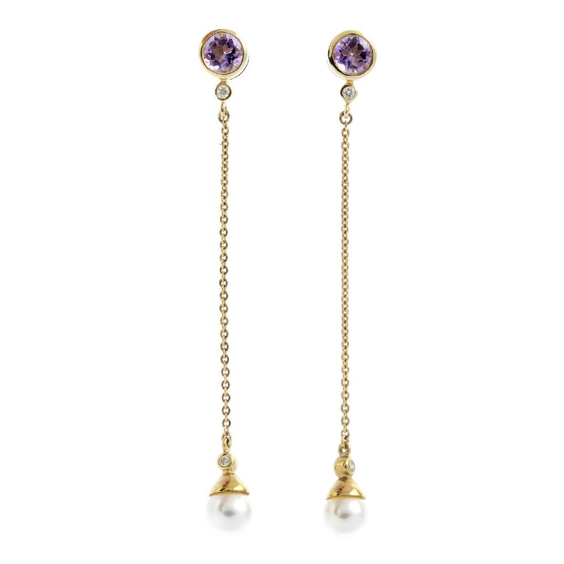 A pair of 9ct gold amethyst and cultured pearl