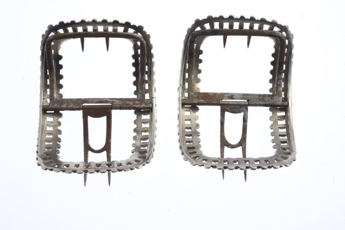 A pair of George III silver buckles. Each of curved - 2