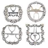 Four Georgian silver paste buckles Each of geometric