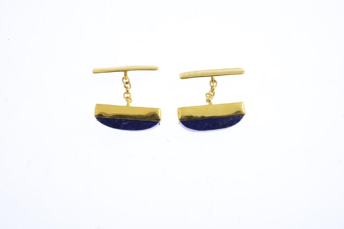 A pair of lapis lazuli cufflinks. Each designed as a - 2