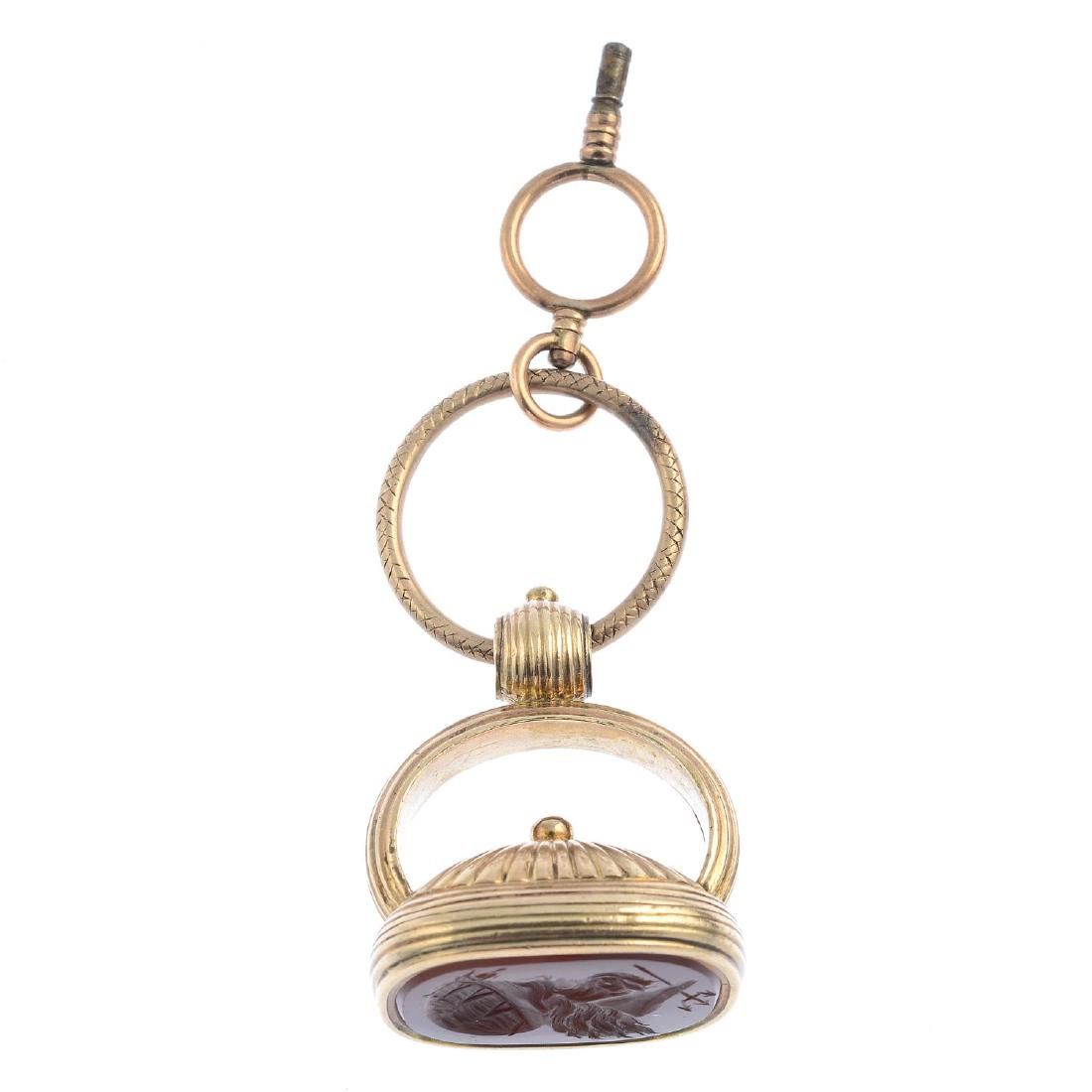 A late Victorian gold carnelian intaglio fob and watch