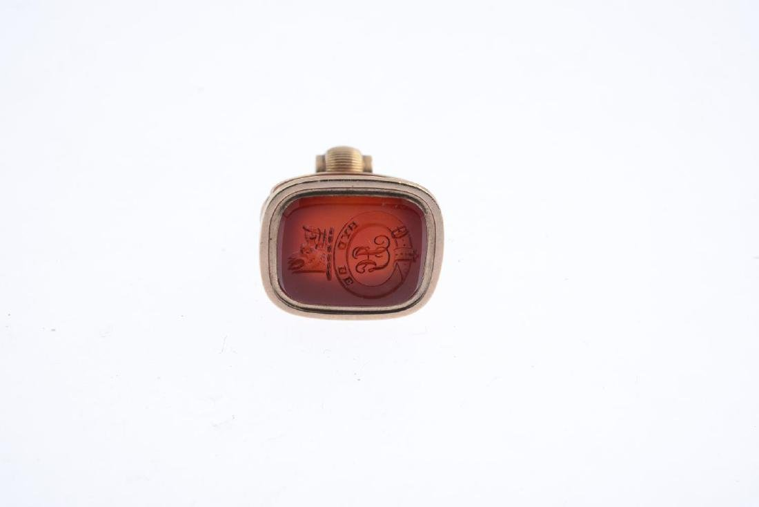 A carnelian fob. The cushion-shape carnelian panel, - 2