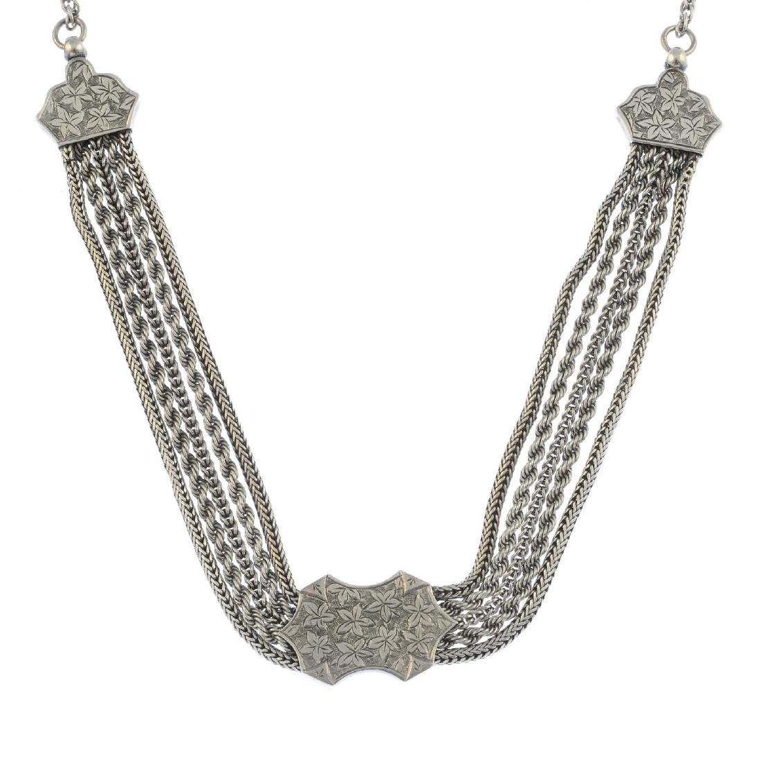 A selection of silver jewellery and further items. To