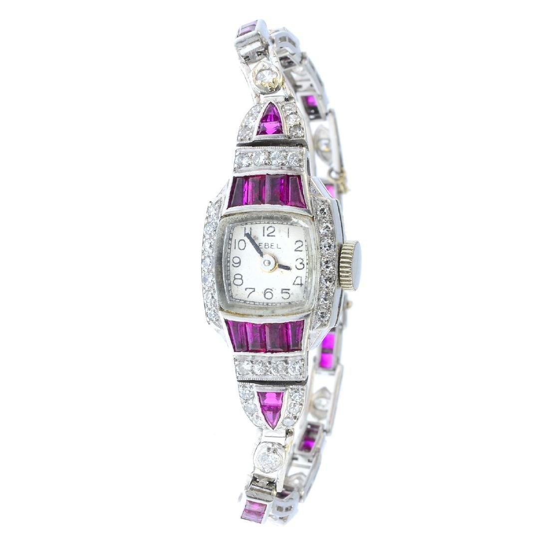 EBEL - a lady's Art Deco platinum, ruby and diamond