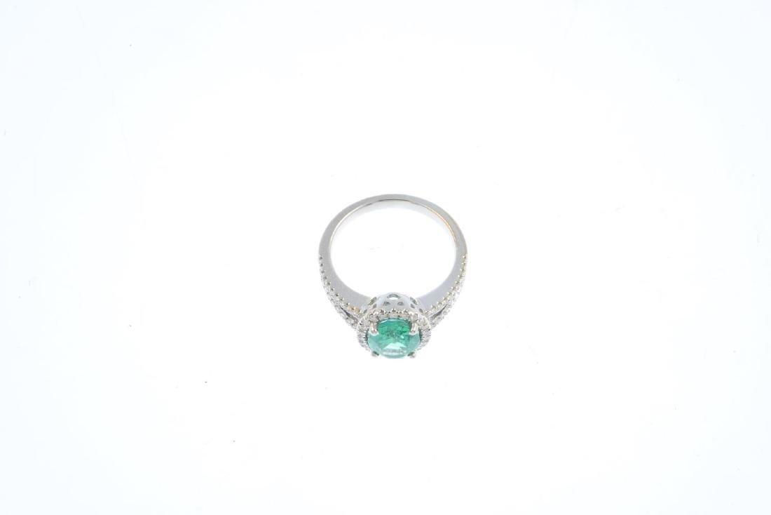 An emerald and diamond dress ring. Designed as an - 3