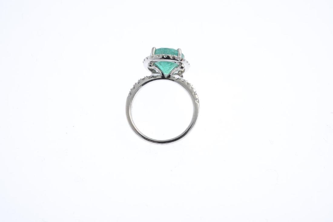 A emerald and diamond dress ring. The oval-shape - 2