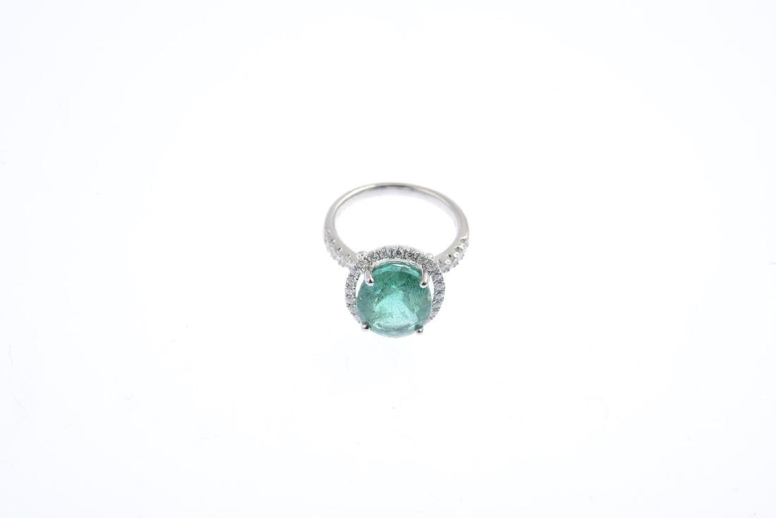 A emerald and diamond dress ring. The oval-shape - 3