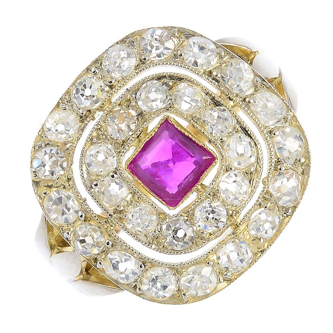 A diamond and ruby dress ring. The square-shape ruby,