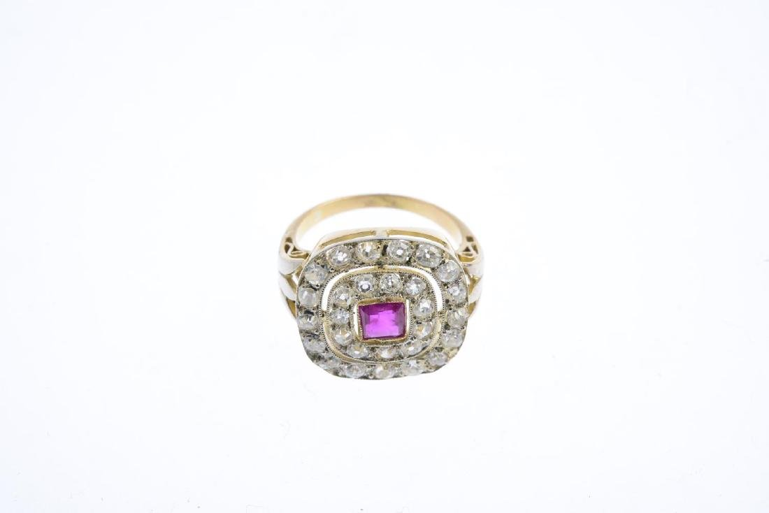 A diamond and ruby dress ring. The square-shape ruby, - 3